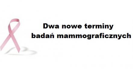 OGŁOSZENIE. Kolejne badania mammograficzne