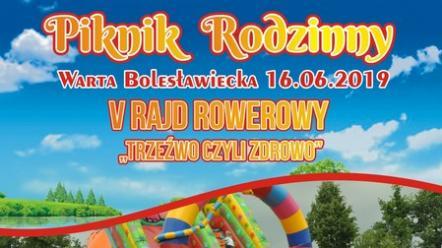 """Piknik Rodzinny i V Rajd Rowerowy """"TRZEŹWO, czyli ZDROWO""""  –  16 czerwca 2019 r. (niedziela)."""