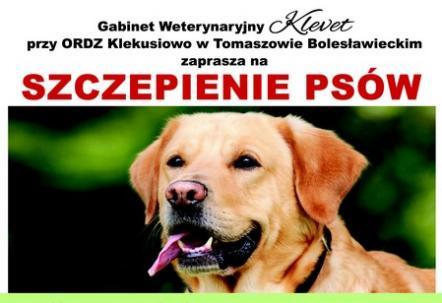 Szczepienie ochronne psów. 1-29 czerwca 2021 w Klekusiowie