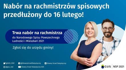 Komunikat Centralnego Biura Spisowego - przedłużenie terminu naboru kandydatów na rachmistrzów spisowych