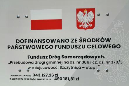 """Zadanie pn. """"Przebudowa drogi gminnej na dz. nr 386 i cz. dz. nr 379/3 w miejscowości Szczytnica - etap I"""" otrzymało dofinansowanie w ramach rządowego programu pn.  Fundusz Dróg Samorządowych."""