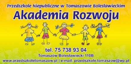 """Przedszkole Niepubliczne """"Akademia Rozwoju"""" w Tomaszowie Bolesławieckim ogłasza nabór dzieci."""